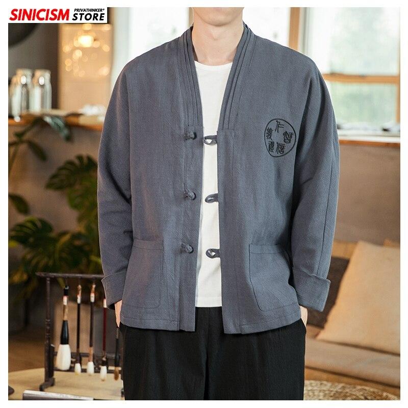 Sinicism Store 2020 Мужская Весенняя льняная куртка с вышивкой мужская повседневная куртка в китайском стиле Мужская модная куртка с пряжкой большо...