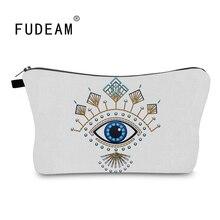 FUDEAM ตุรกีตาสีฟ้าแบบพกพาเก็บกระเป๋าจัดระเบียบเครื่องสำอางกระเป๋ากันน้ำหญิง Lucky กระเป๋าแต่งห...
