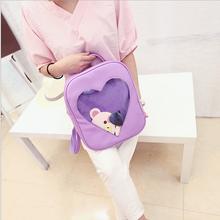 Bonbons couleur cuir PU Ita sac bricolage Transparent amour coeur forme sac à dos Kawaii Harajuku cartables pour adolescentes