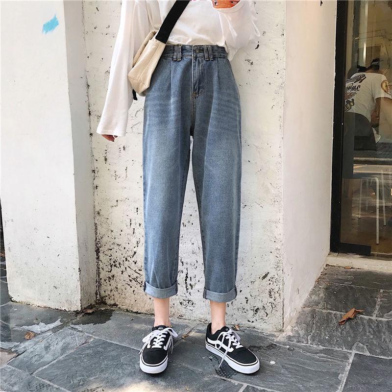 2020 Women`s Plus Size Jeans Harem For Women Loose Vintage Light Blue Women's Jeans Pants Boyfriend Denim