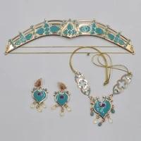 women jasmine royal crown headband earrings pendant necklace jewelry set teal dress up princess adults kids costume kit