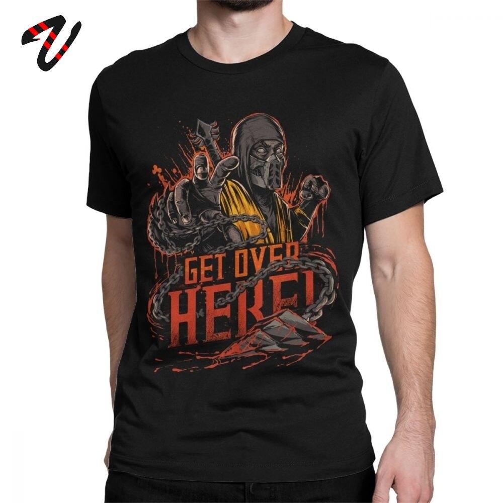 Mortal Kombat 11 T Shirts Men Scorpion Get Over Here New Print Tshirt Popular Fighting Game T-Shirt Man Cotton Tees Classic Tops