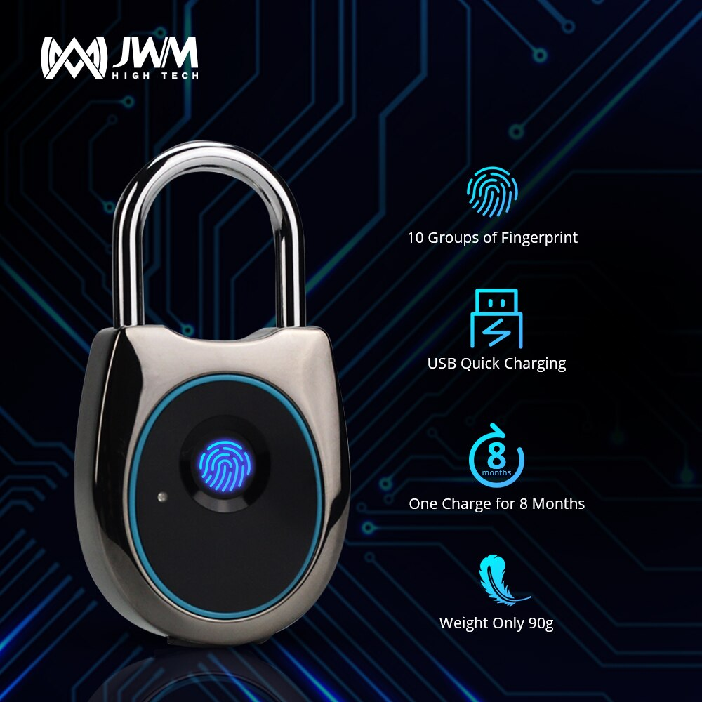 JWM smart door lock fingerprint fingerprint door lock keyless USB rechargeable door lock fast unlock smart fingerprint lock for for glass door keyless usb rechargeable electric fingerprint door lock for double door biometric lock