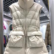 2021 Winter New Duck Down Vest Women Lightweight Solid Drawstring Waist Slim Jacket Waistcoat Loose