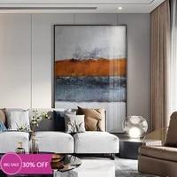 Affiches de peinture sur toile pour decoration de noel  image dart murale abstraite Orange deau de riviere pour decoration de salon  decoration de maison