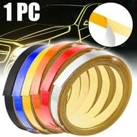 1pc car reflective rim self adhesive stripe sticker tape for auto motorcycle body door wheel decorative 6 colors 5m1cm diy film