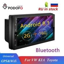 Автомагнитола Podofo, мультимедийный плеер на Android, с GPS, для Volkswagen, Nissan, Hyundai, Kia, Toyota, Mirror Link, FM, MP5, типоразмер 2 Din