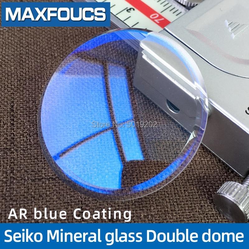 Para Seiko Mineral de vidrio de reloj partl azul con recubrimiento AR doble cúpula x 33x3,7mm x 2,3mm 1 Piecse