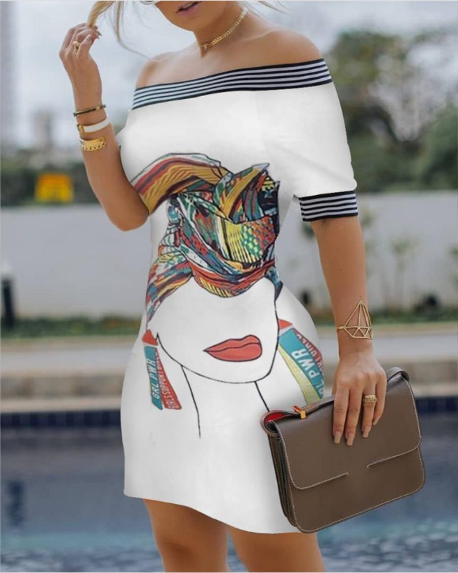 Летнее женское платье, сексуальная облегающая короткая юбка на одно плечо, модная облегающая юбка-карандаш с принтом для женщин