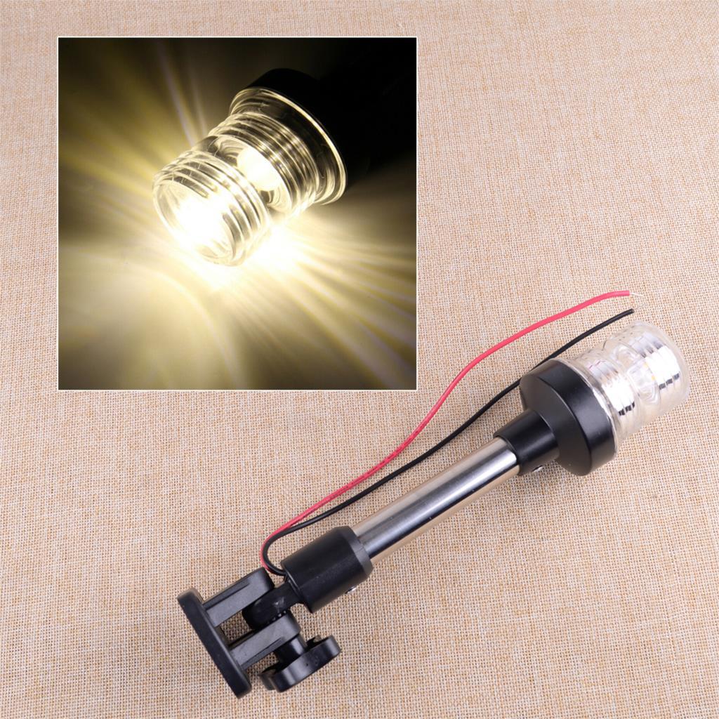 Luz 9-1/2 12-24 v do pólo da âncora da popa da navegação do diodo emissor de luz da dobra ajustável do pontão do barco marinho preto de dwcx