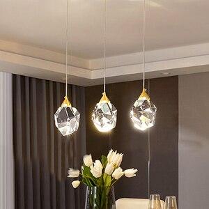 Nordic K9 Crystal Bedside Pendant Lamp Luxury DiningLiving Room Kitchen Suspension Pendant Light Cafe Shop Window Hanging Light