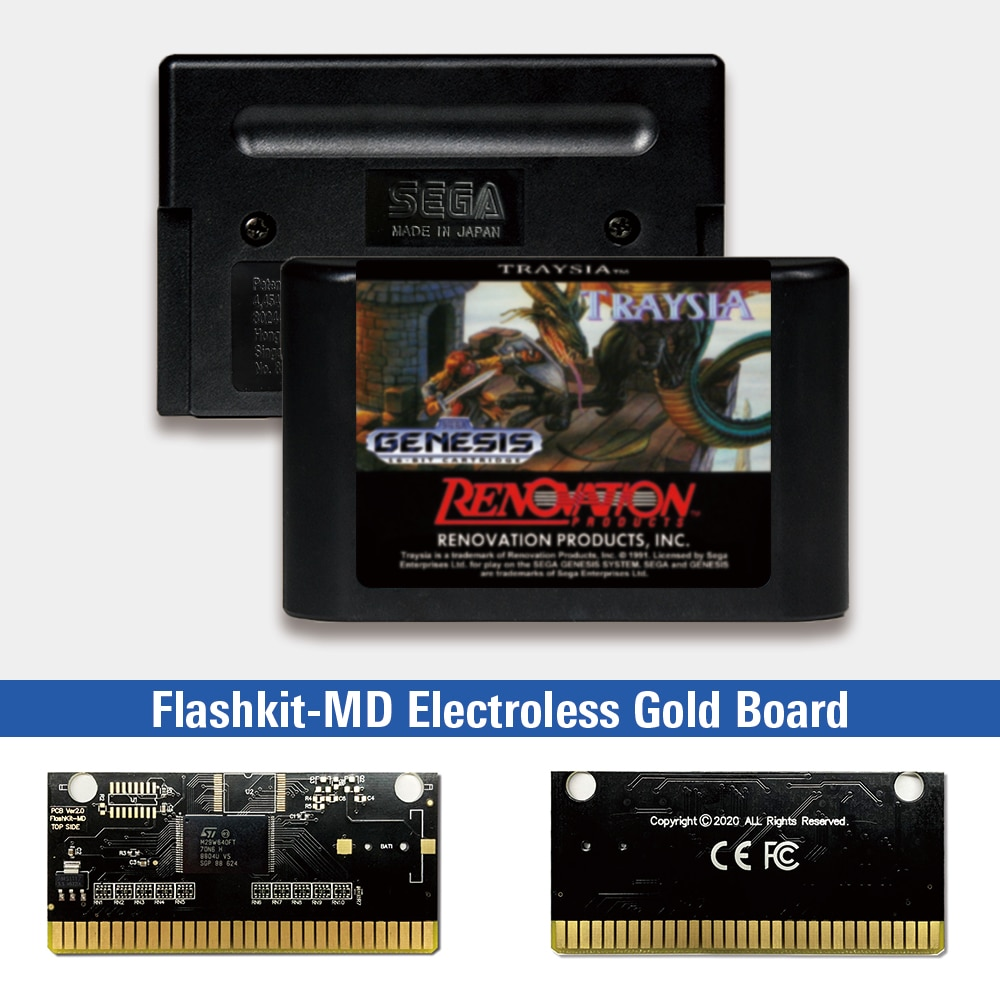 Traysia - USA Label Flashkit MD, tarjeta PCB dorada sin electrodos para...