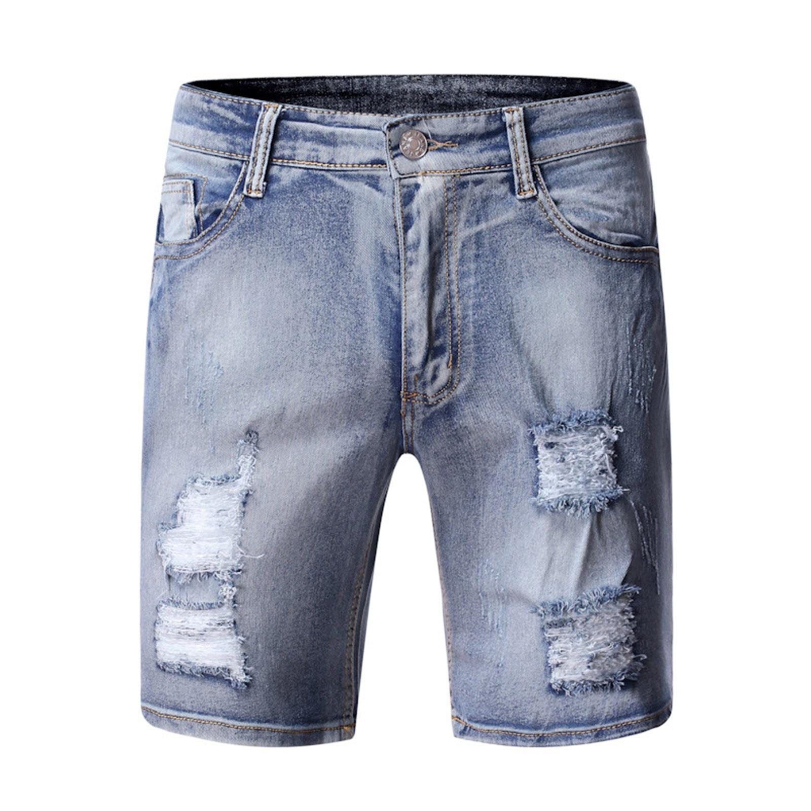 Мужские рваные джинсовые шорты, повседневные зауженные брюки из денима с дырками, модель A40 в винтажном стиле на лето, 2021
