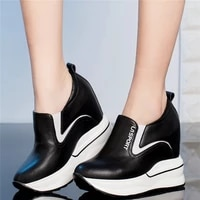 casual shoes women genuine leather wedges high heel ankle boots female slip on round toe fashion sneakers platform oxfords shoes