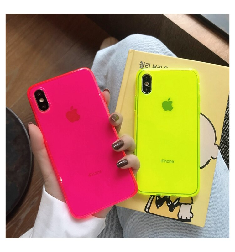 Fluorescentes de Color slido de caso de telfono transparente para iPhone 11 Pro Max XR X L X XS X Max 7 8 Plus de caso IMD cubier