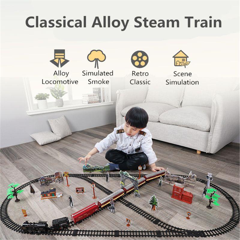Juegos de tren ferroviario clásico electrónico con motor de locomotora de vapor U50F