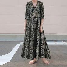 Robe florale femme été automne rétro tempérament doux vent noir longues robes col en V trois-quarts manches Robe décontractée