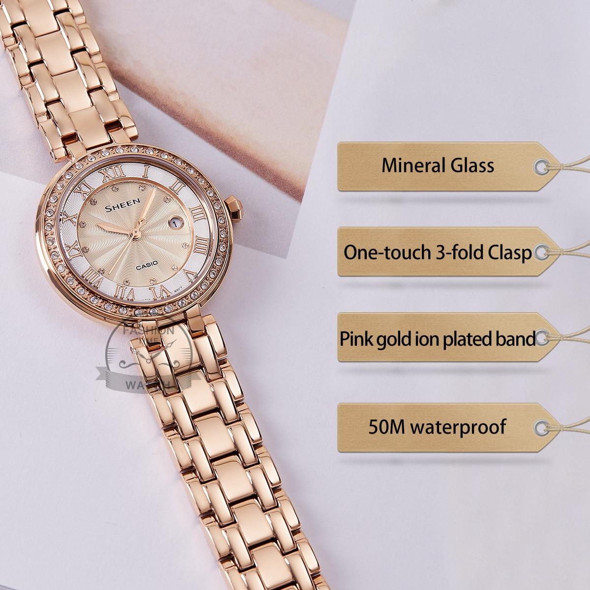 Casio watch Swarovski Crystal women watches top brand luxury set ladies watch women 50mWaterproof Quartz Sport clock reloj mujer enlarge
