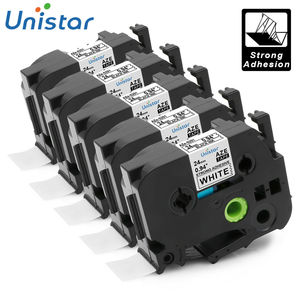 UNISTAR 5 PCS Compatible for Brother P-touch Tape 24mm Black on White Ptouch 24mm Label Ribbons Tape TZe251 TZ251 TZe-251 TZ-251