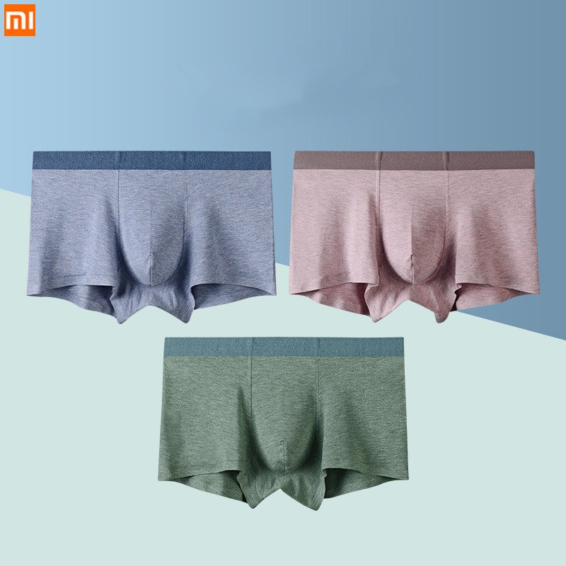 3pcs/lot Xiaomi Men Underwear Fiber color yarn Seamless men's underwear New Luxuxy men panties boxer 2019 Breathable Underpants