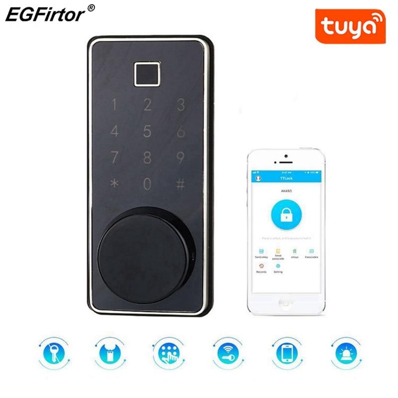 الذكية قفل بدون مفتاح الدخول بلوتوث قفل مع بصمة قارئ واللمس شاشة لوحة المفاتيح تويا Wifi APP متوافق للمنزل مكتب
