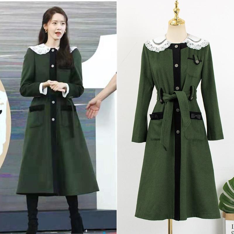 Kpop-معطف شتوي طويل من الصوف للمشاهير الكورية ، سترة واقية طويلة من الرياح مع أربطة ، عصرية ، للشتاء