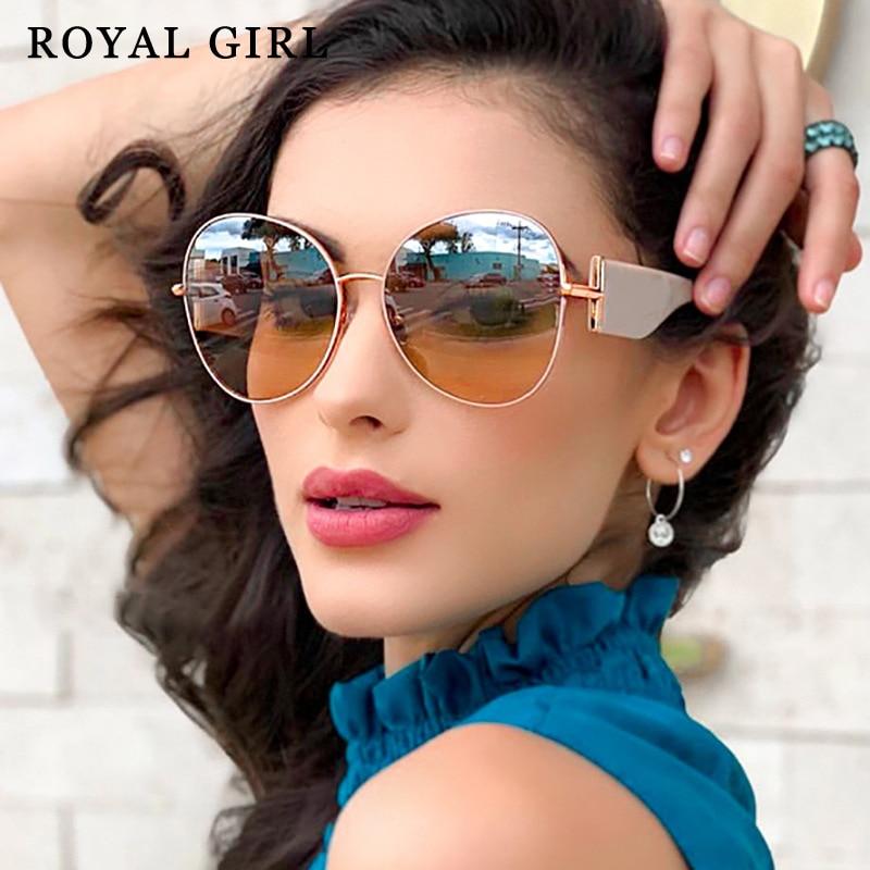 ROYAL GIRL Fashion Round Oversized Sunglasses Women Vintage Big Frame Brand Design Sun Glasses New Female Gradient Eyewear ss242