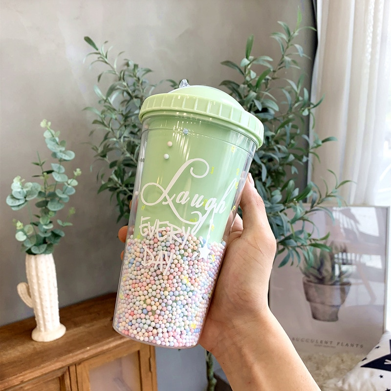 Double Layers Bubble Creative Ice Cup Plastic Water Bottle With Straw Korean Style Creative Sweet Mug for Milk Coffee Tea Cup  - buy with discount