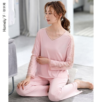 Women's Pajamas Spring and Autumn Long Sleeve Modal Cotton Silk Thin Homewear Mom Spring and Summer Thin Loose Outfit