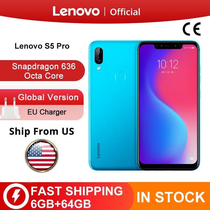 Глобальная версия Lenovo S5 Pro 6 Гб 64 Гб Snapdragon 636 Octa, четыре ядра, смартфон с функцией отпечатков пальцев (20MP Quad камеры 6,2 дюймов Octa Core 4 аппарат не пр...