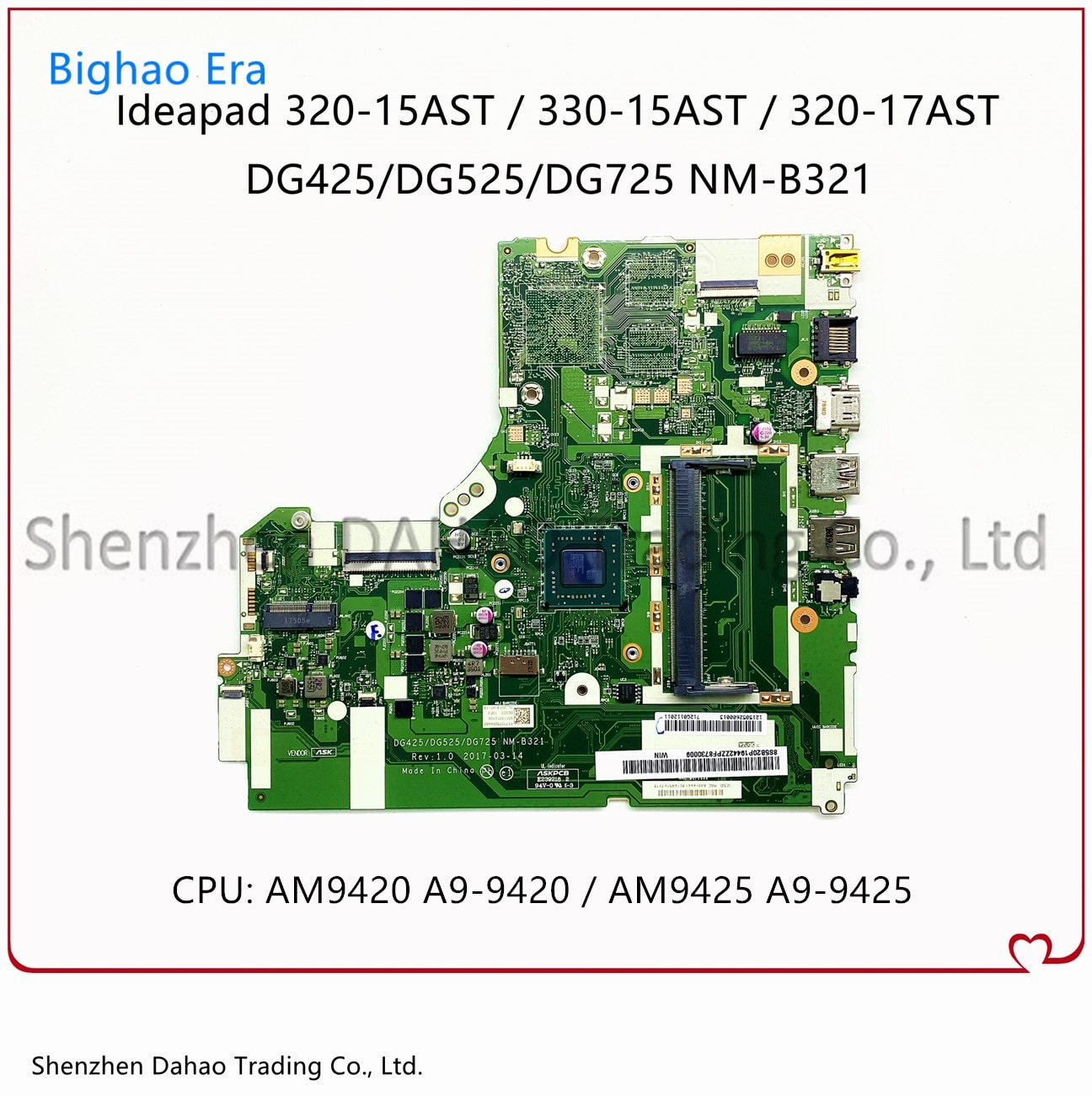 Fru:5B20P19430 For Lenovo 320-15AST 320-17AST 330-15AST Laptop Motherboard NM-B321 MB With A9-9420/9425 CPU DDR4 100% Fully Test