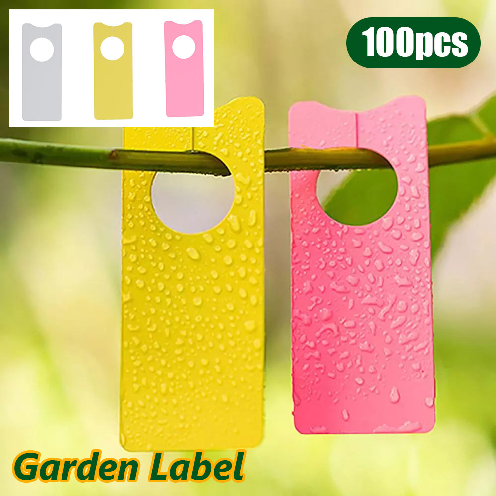 100pcs Garden Plant Hanging Label Tag Waterproof Plastic Seed Name Card Marker Sign Board Multifunction Plant Flower Seeding Tag 100pcs lot plant label gardening label flower plastic ring label waterproof label plastic marker