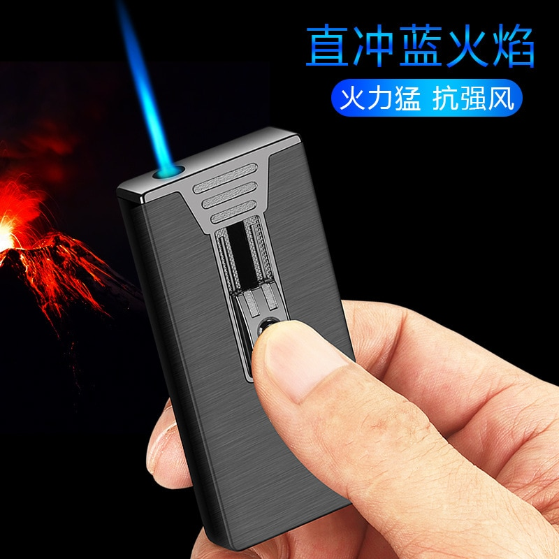 Ultra-thin Metal Flint Lighters Gas Gasoline Lighter Butane Turbo Jet Torch Lighter Cigar Cigarettes Windproof Lighter Gadgets enlarge