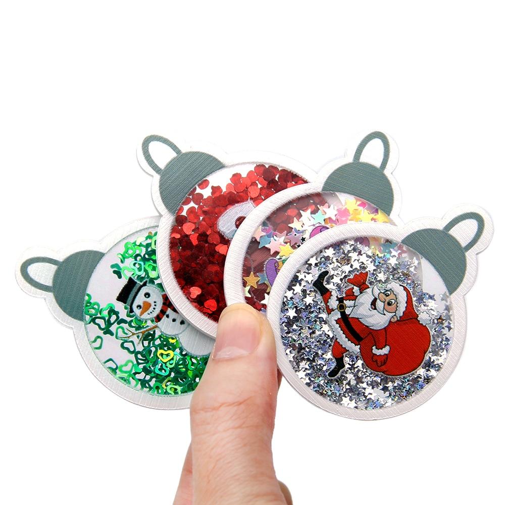 Boże narodzenie mieszane 10 sztuk/zestaw przeźroczyste tworzywo sztuczne żywica z cekinami Shakers DIY do włosów klips biżuteria Craft dekoracja telefonu, 1Yc8194