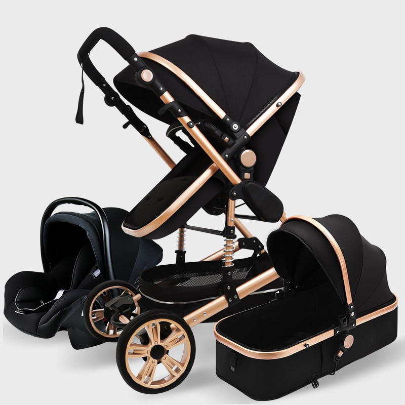 High Landscape Baby Stroller 3 in 1 With Car Seat Pink Stroller Luxury Travel Pram Car seat and Stroller Baby Carrier Pushchair