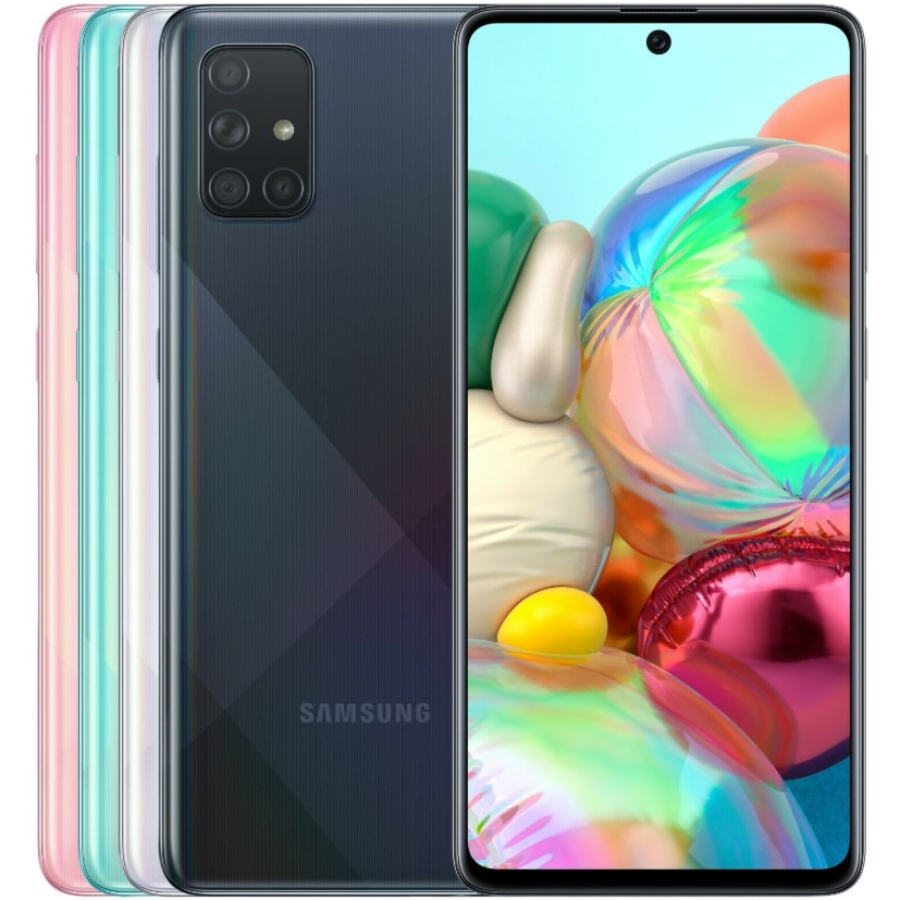Разблокированный Samsung Galaxy A71 A715F, экран 6,7 дюйма, 6 ГБ + 128 Гб, четыре камеры 64 мп, 32 МП, 4500 мАч