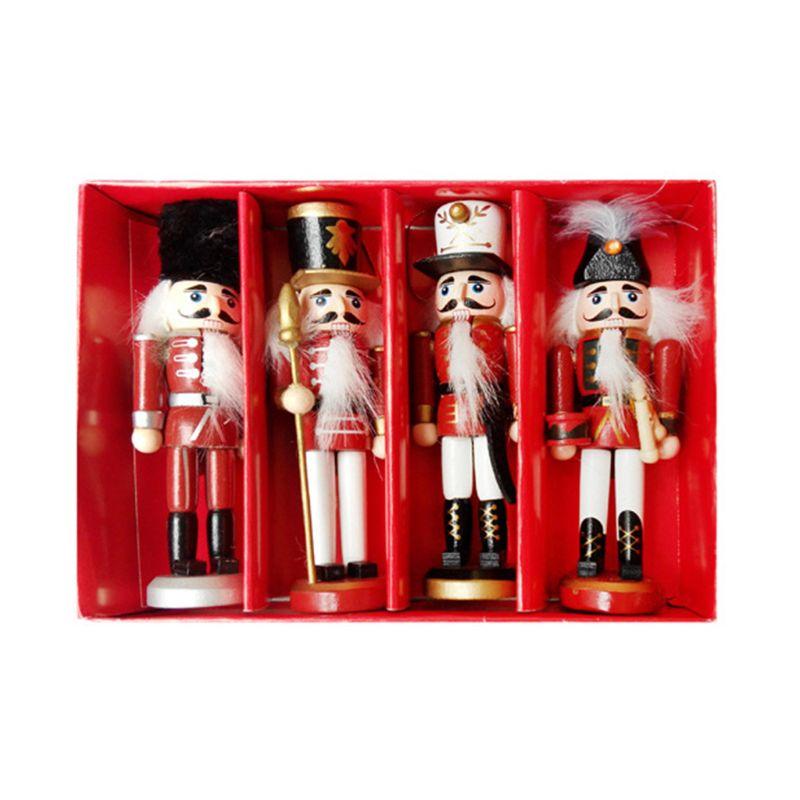 4 unids/set de figuras en miniatura de madera de Cascanueces soldado Vintage artesanía títere decoración del hogar Año Nuevo adornos de Navidad