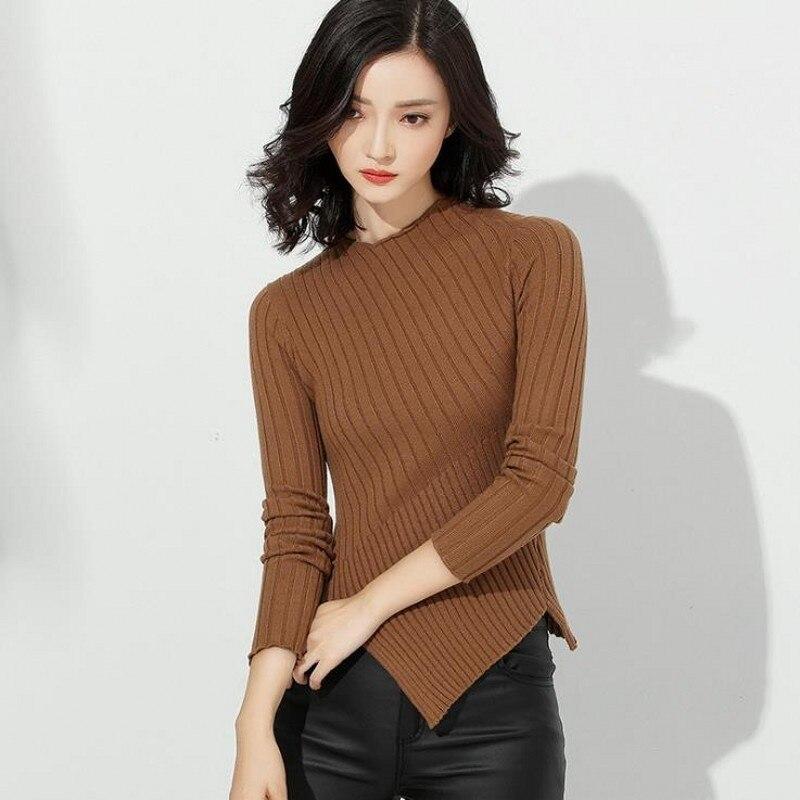 Женские свитера, осенняя одежда высокого качества для женщин, модные дизайнерские пуловеры асимметричного покроя с круглым вырезом, вязаны...
