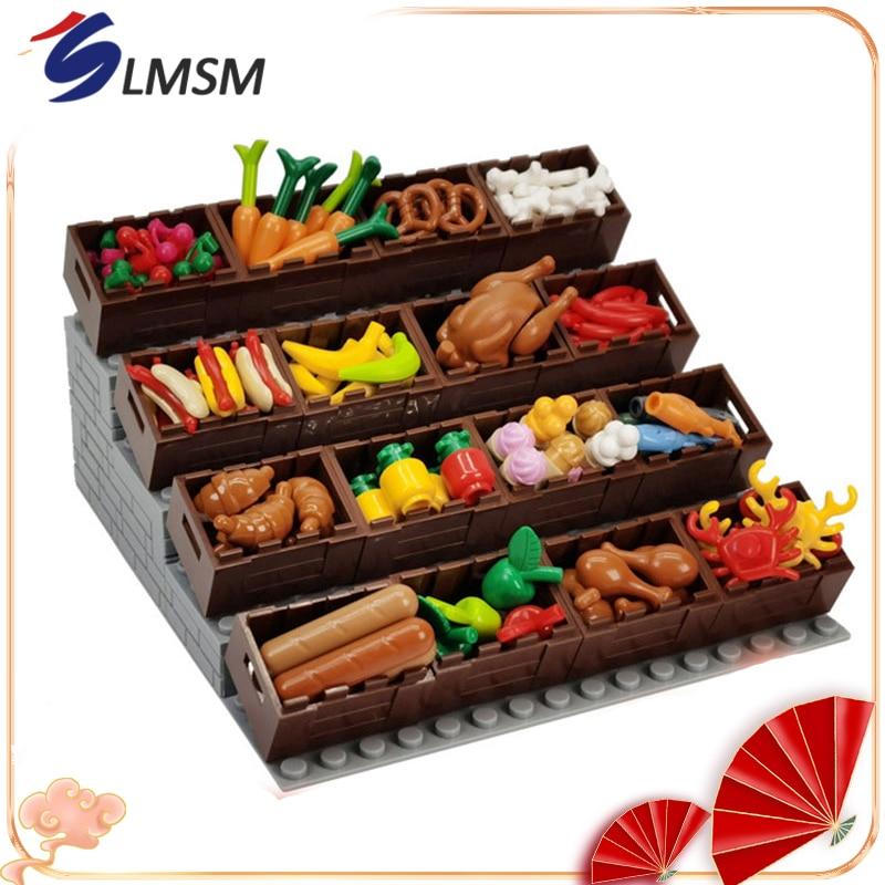 AliExpress - Food Accessories Series Building Blocks Bread Fruit Fish Food Box Toys MOC Bricks Kids Educational Toys Gift