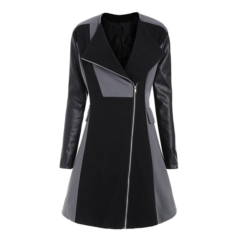 Abrigos de invierno para mujer de talla grande 5xl chaquetas largas de PU de retazos con cremallera solapa prendas de vestir femeninas de ajuste Delgado abrigos de oficina de bloque de Color
