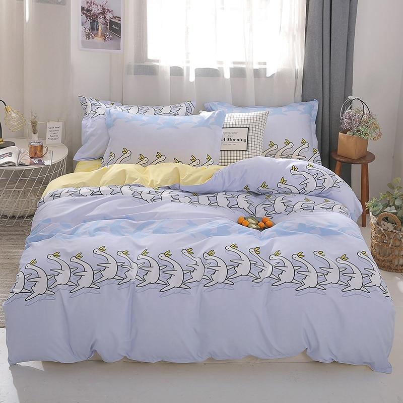 الكرتون بطة الفراش مجموعة ، 200x220 غطاء لحاف المخدة 3 قطعة ، 135x200 الطفل لحاف غطاء ، مزدوجة الملكة الملك حجم الأصفر السرير ورقة