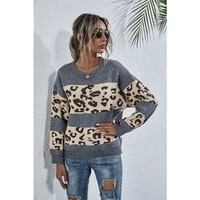2021 fallwinter womens sweater loose round neck leopard print stitching long sleeved sweater casual high street pullover wn