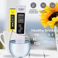 Portable LCD Digital PH Meter 0.01 + TDS EC Tester Pen Water Purity PPM Filter Hydroponic for Aquarium Pool Wine Urine 40%