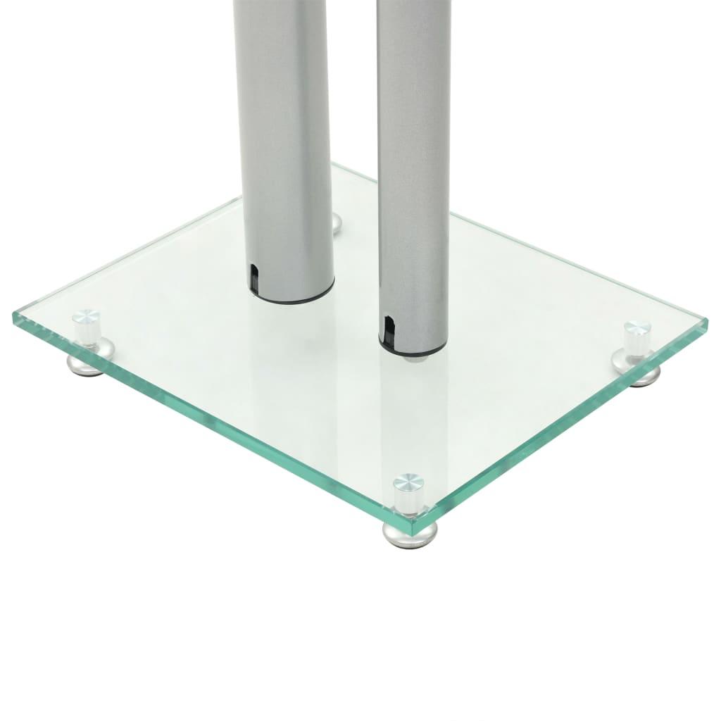 Speaker Stands 2 pcs Tempered Glass 2 Pillars Design Silver enlarge