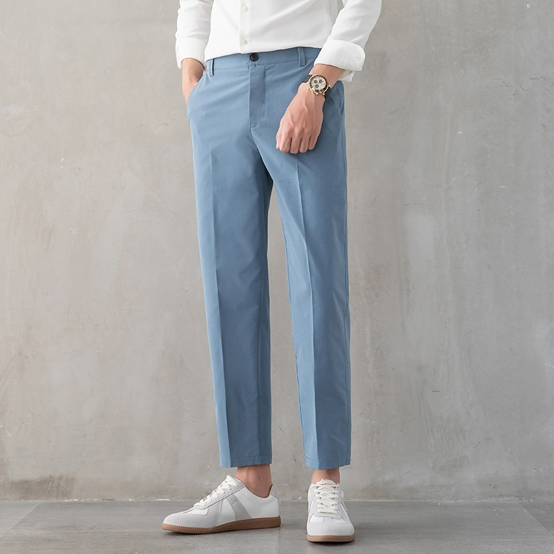 2021 Брендовые мужские брюки до щиколотки, высококачественные прямые мужские деловые джоггеры, костюмы, брюки хаки, эластичные повседневные ...