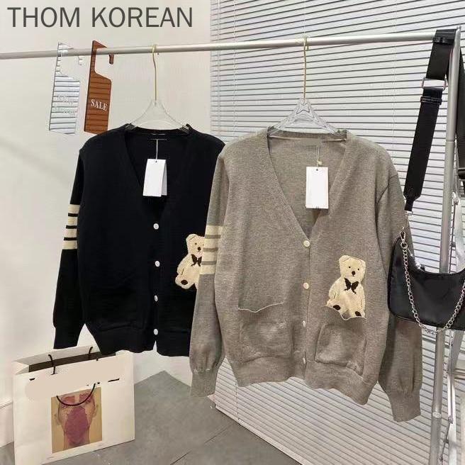 سترة نسائية TB THOM سترة قطنية برقبة على شكل حرف v مُخططة بأكمام طويلة ملابس خارجية للخريف سترة نسائية كورية