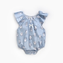 ATUENDO Summer Blue Newborn Baby Rompers 100% Cotton Kawaii Soft Girl's Clothes Babysuits Fashion Cu