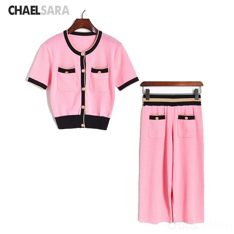 Moda rosa das mulheres terno 2020 verão novo coreano elegante curto de malha t-shirts + panturrilha comprimento 2 peça conjunto