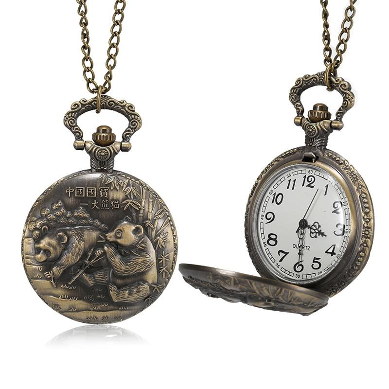 Reloj de bolsillo de cuarzo de bronce para hombre y mujer con caja tallada de Panda y cadena TT @ 88