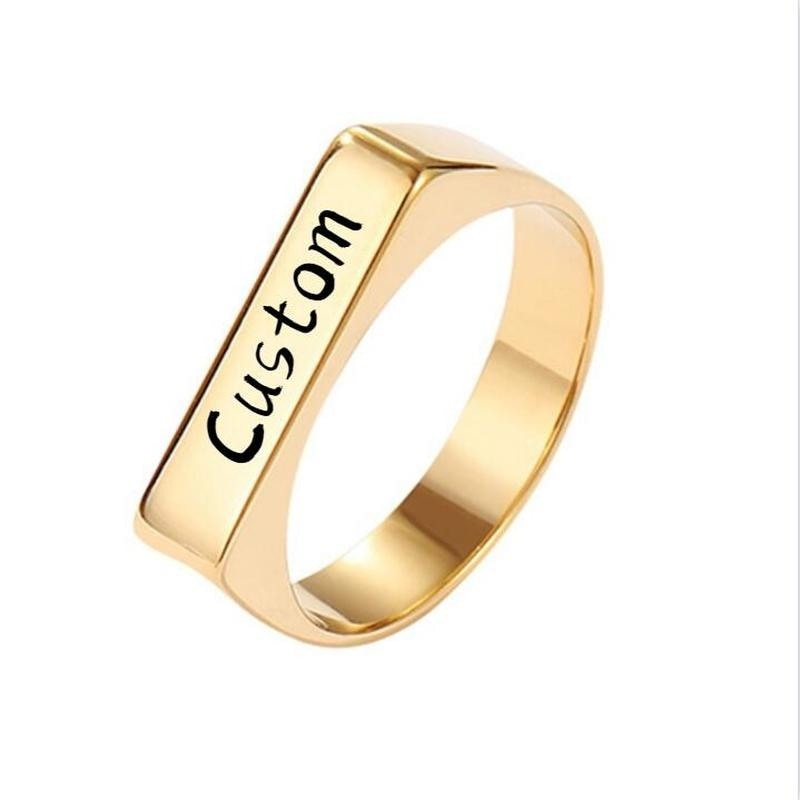 Custom Name Personalized Rings Gold Color Stainless Steel Square Symbol Finger Jewelry For Women Men